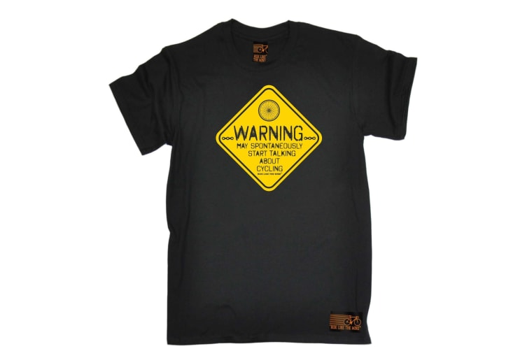 Ride Like The Wind Cycling Tee - Warning May Spontaneously Start Talking About - (4X-Large Black Mens T Shirt)