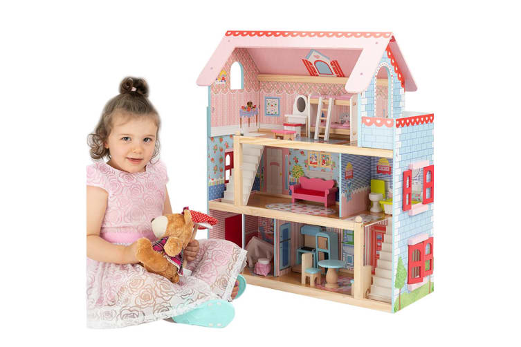 ROVO KIDS Dollhouse Dream Dolls Doll House Wooden Furniture Pink Mansion Girls