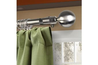 Curtain Rod Metal Pole Rail Finial Set Extendable 120-210cm