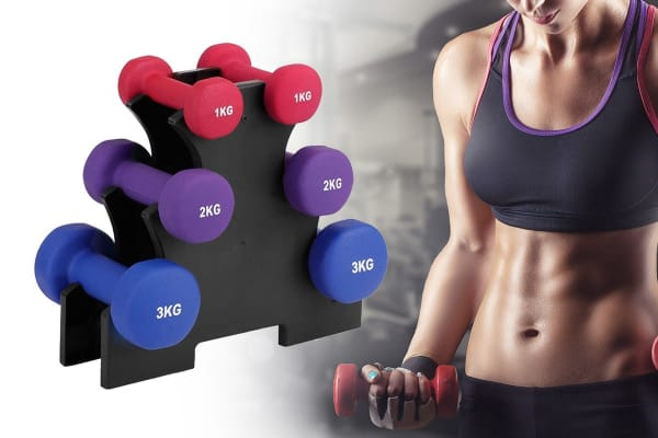 Fortis 12kg Dumbbell Set with Storage Rack