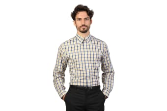 Brooks Brothers Mens Long Sleeve Checked Pattern Shirt (Yellow/Navy)