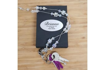 Personalised Lanyard Key holder Necklace - Crystal