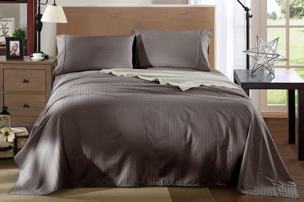 Exceptional Royal Comfort Kensington 1200TC 100% Egyptian Cotton Stripe Bed Sheet Set  (Queen, Charcoal