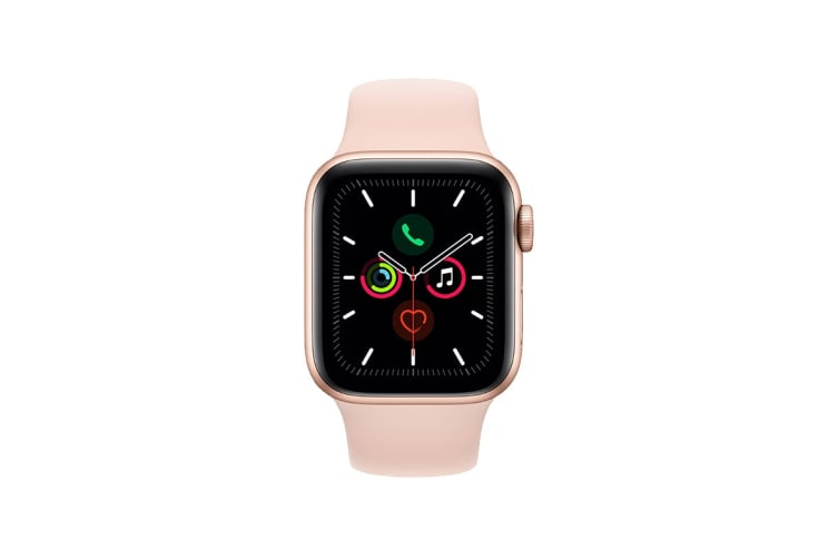 Apple Watch Series 5 (Gold Aluminum, 40mm, Pink Sand Sport Band, GPS Only)