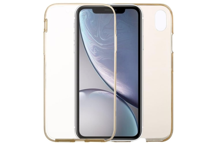 Ultra-thin Double-sided Full Coverage Transparent TPU Case For iPhone XR Gold