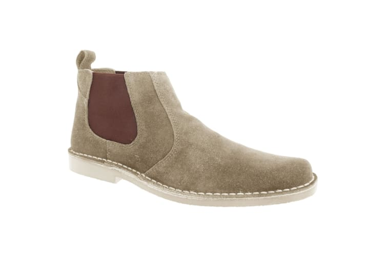 Roamers Mens Real Suede Classic Desert Boots (Taupe) (12 UK)
