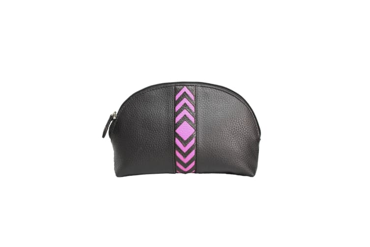 Eastern Counties Leather Womens/Ladies Becky Chevron Detail Make Up Bag (Fuchsia) (One size)