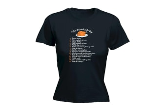 123T Funny Tee - How Fto Cook A Turkey - (X-Large Black Womens T Shirt)