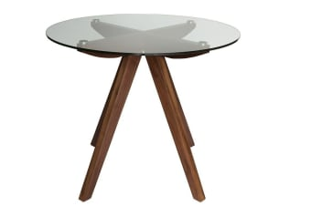 Amber Collection | Glass Dining Table | Walnut | 90cm