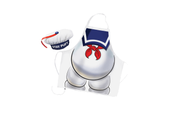 Ghost Busters Stay Puft - Apron & Chef Hat Set Marshmallow Man Cooking Kitchen Movie Novelty