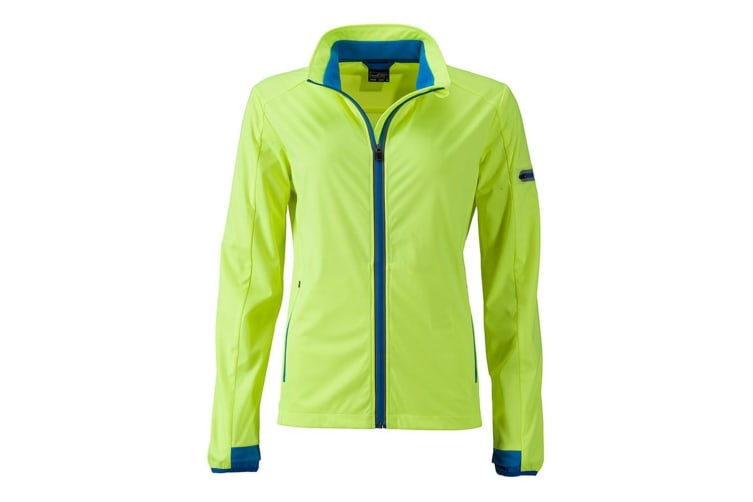 James and Nicholson Womens/Ladies Sports Softshell Jacket (Bright Yellow/Bright Blue) (XL)