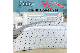 300TC Finley Reversible Quilt Cover Set QUEEN