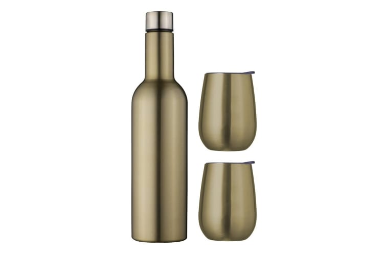 Avanti Double Wall Wine Traveller 750ml Bottle Flask 300ml Tumbler Set Champagne