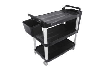 SOGA 3 Tier Food Trolley Food Waste Cart With Two Bins Storage Kitchen Black 10.2x50x96cm Large
