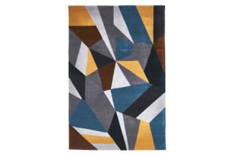 Laura Designer Wool Rug Blue Yellow Grey 225x155cm