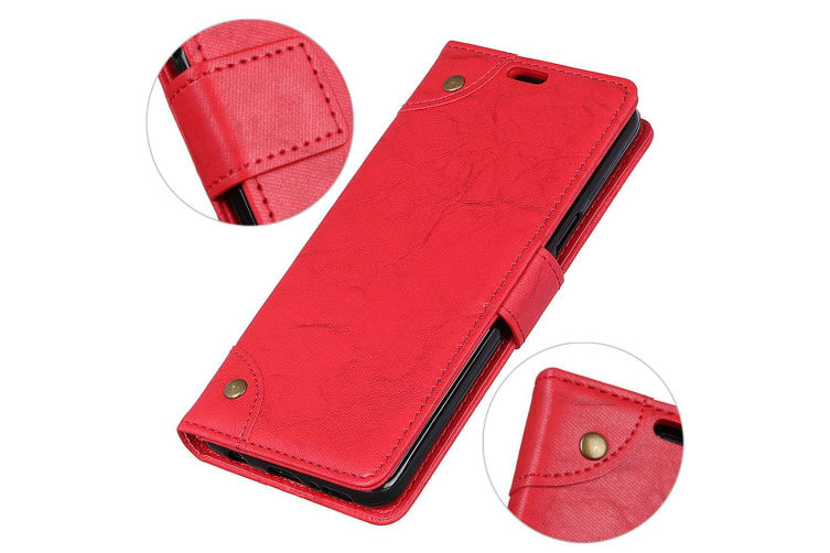 For Google Pixel 3 Leather Wallet Case Red Copper Buckle Horse Texture Cover