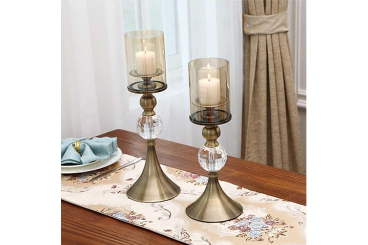 SOGA 34cm Glass Candle Holder Candle Stand Glass/Metal with Candle
