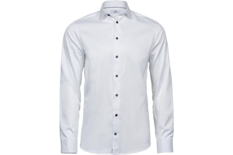 Tee Jays Mens Luxury Slim Fit Shirt (White/Blue) (L)