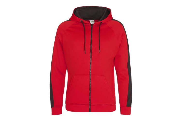 AWDis Just Hoods Mens Contrast Sports Polyester Full Zip Hoodie (Fire Red/Jet Black) (S)
