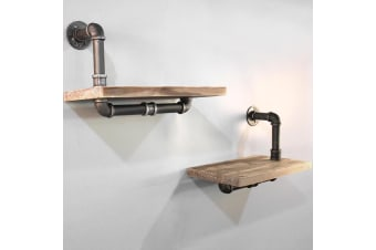 2 Pack 45CM Rustic Industrial DIY Floating Pipe Shelf