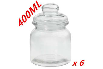 6 x Clear 400ml Glass Jars Multi-purpose Storage Jar Glass with Lid Candle Candy