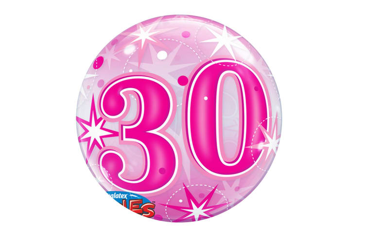 Qualatex 22 Inch 30th Birthday Pink Starburst Bubble Balloon (Pink) (One Size)