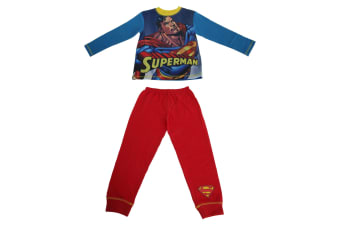 Superman Childrens/Kids Hero Pyjama Set (Yellow/Blue) (7/8 Years)