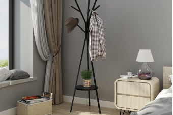 Ovela 9 Hook Coat Hanger Stand (Black)