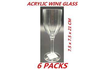 6 x Clear Acrylic Wine Glass Chardonnay Champagne Drinks Parties Events Wedding