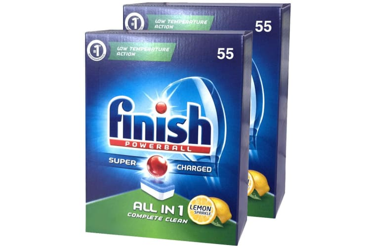 110PK Finish Tabs All in 1 Lemon Tablets Powerball Super Charged for Dishwasher