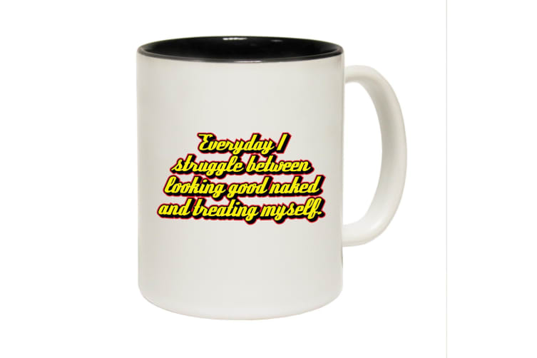 123T Funny Mugs - Everyday Struggle Naked - Black Coffee Cup