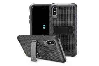 Black Honeycomb For iPhone XS X Case Armour Phone Cover KickStand