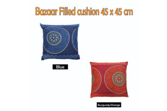 Bazaar Filled Cushion Square - BLUE by Hotel Living