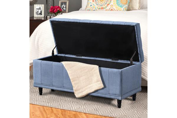 Extra Large Linen Fabric Storage Ottoman Footstool