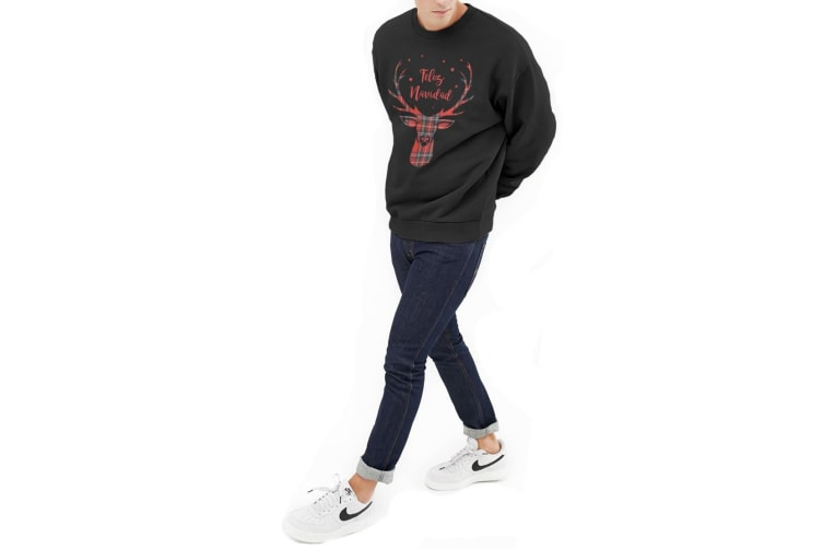 Fashionkilla Mens Feliz Navidad Print Sweatshirt (Black) (Small)