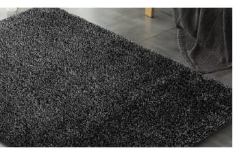New Designer Ultra Soft Shaggy Rug Black 300x200cm