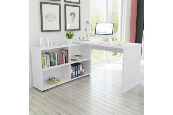vidaXL Corner Desk 4 Shelves White