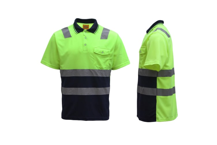 HI VIS Short Sleeve Workwear Shirt w Reflective Tape Cool Dry Safety Polo 2 Tone - Fluoro Yellow / Navy