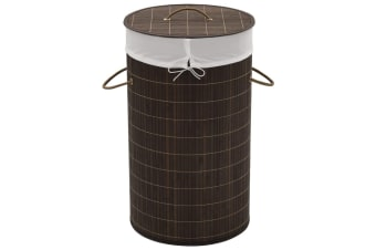 vidaXL Bamboo Laundry Bin Round Dark Brown