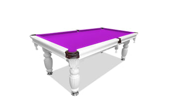 7FT Luxury Slate Pool Table Solid Timber Billiard Table Professional Snooker Game Table with Accessories Pack, White Frame / Purple Felt