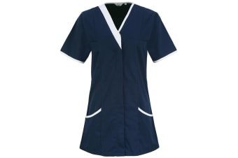 Premier Womens/Ladies Daisy Healthcare Work Tunic (Pack of 2) (Navy/ White) (22UK)