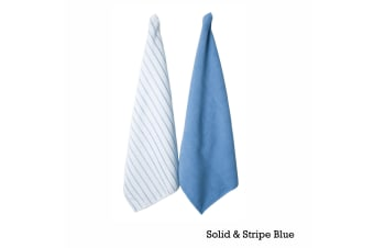 Set of 2 Solid and Stripe Microfiber Tea Towels Blue by IDC Homewares