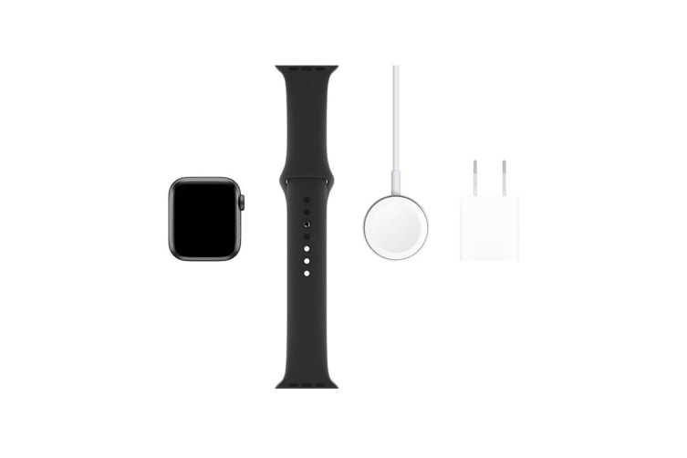 Apple Watch Series 5 (Space Gray Aluminum, 40mm, Black Sport Band, GPS Only)