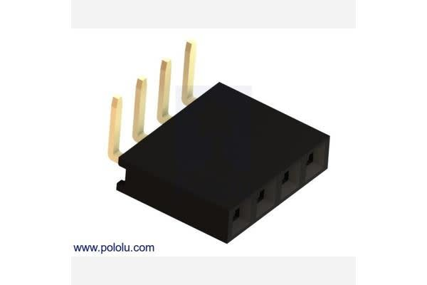 "0.100"" (2.54 mm) Female Header: 1x4-Pin, Right-Angle"
