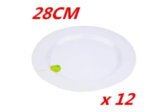 12 x 28cm Round Melamine White Dinner Plate Plates Birthday Wedding Party Cafe Pub