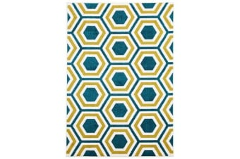 Indoor Outdoor Honeycomb Rug Blue Citrus 230x160cm