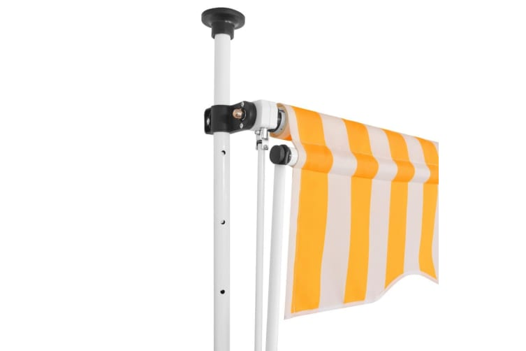 vidaXL Manual Retractable Awning 300 cm Yellow and White Stripes
