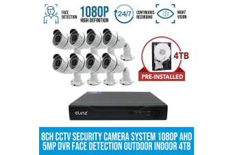 Elinz 8CH CCTV Security 8x Cameras System 1080P 4TB Face Detection DVR 5MP