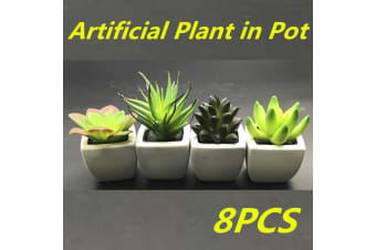 8 x Artificial Fake Succulent Flower Plant Leaves in Pot Home Garden Green Decorate
