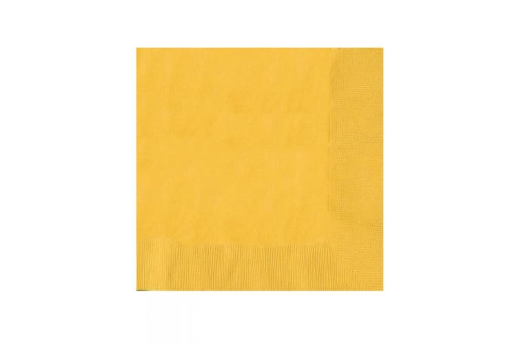 Amscan 2 Ply Solid Colour Dinner Napkins (Pack Of 20) (Yellow) (One Size)